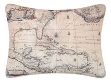Barbados Map Throw Pillow