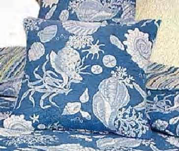 Blue Shells Reversible Throw Pillow