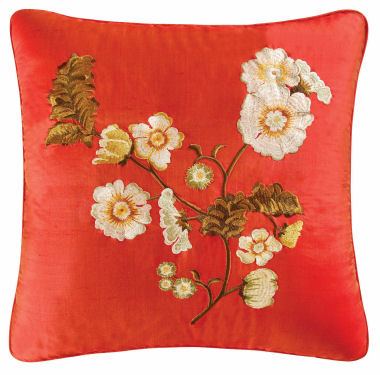 Carlisle Red Embroidered Silk Throw Pillow