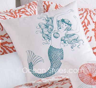 Cora Red Mermaid Pillow