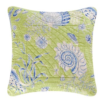 Green Seashells Quilted Throw Pillow