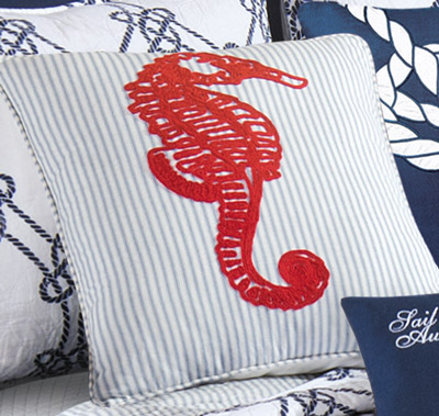 Knotty Buoy Seahorse Throw Pillow