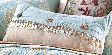 Natural Shells Beaded Throw Pillow