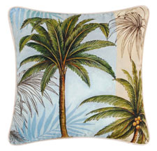 Palm Stripes Palm Tree Throw Pillow #1