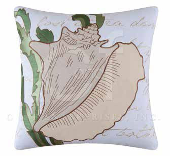 Conch Shell Embroidered Pillow